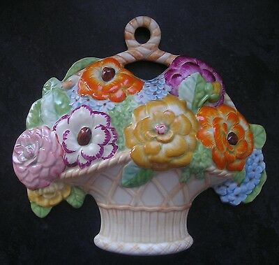 Large Beswick Wall Plaque, Flowers In A Basket, Vibrant Colours, Deco.