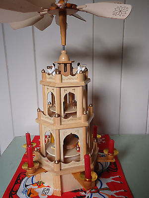 Vintage GERMAN WEIHNACHTS PYRAMID NATIVITY Christmas Carousel Wooden 3 Tier