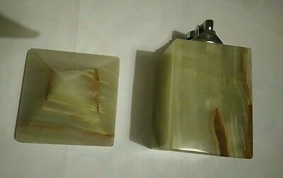Vintage retro green brown marble onyx geode paperweight and table lighter