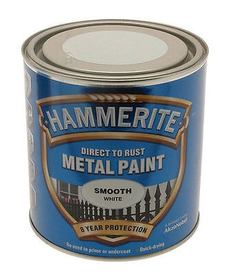 Hammerite  2.5 LITRE DIRECT TO RUST Smooth White  Metal Paint  2.5L