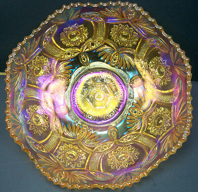 "Antique Imperial Carnival Glass Blaze Marigold 9"" Bowl~Super Iridescence"