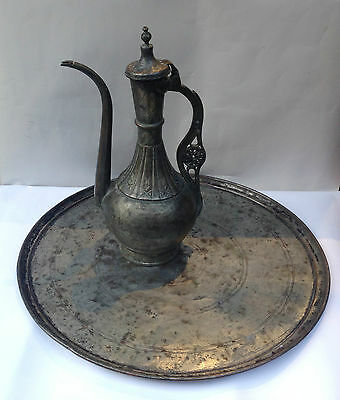 ULTRA ANTIQUE OTTOMAN TURKISH IBRIK COPPER TRAY PLATE PITCHER EWER ENGRAVING 19c