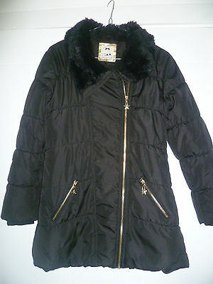Star By Julien Macdonald Age 11-12 Girls Black Padded Coat With Fur Collar