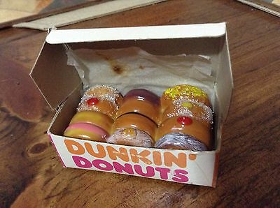 DUNKIN DONUTS OPEN BOX OF DONUTS Mini Decoration Magnet? Ornament?