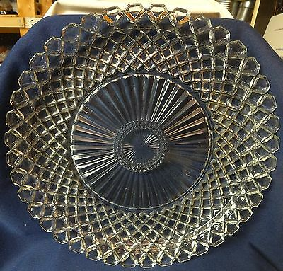"Waterford Crystal Sandwich Plate 13.75"" Hocking Glass Company"