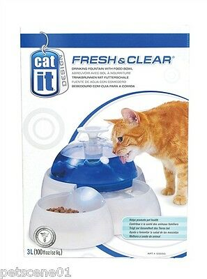 Hagen Catit Fresh & Clear Drinking Fountain With Food Bowl 50050 Cat & Small Dog