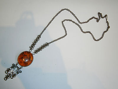 VINTAGE OLD BEAUTY RUSSIAN USSR NECKLACE AMBER GILD BIJOU 1940's