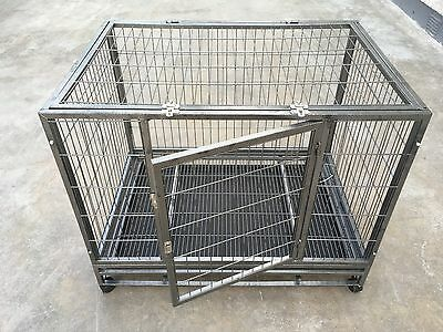 Large Pet Dog Crate Kennel Enclosure Portable Cage Carrier + Wheels - New
