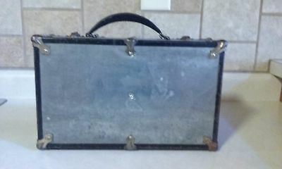 Metal Trunk Suitcase Storage SMALL Antique?? UNIQUE Prop Window Display Lined
