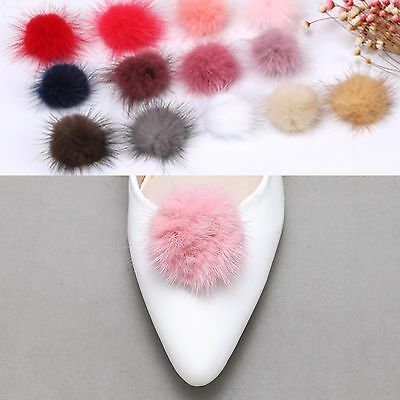Fashion Winter Ladies Boots Small Pom Ball Faux Rabbit Fur Shoe Clips Pair