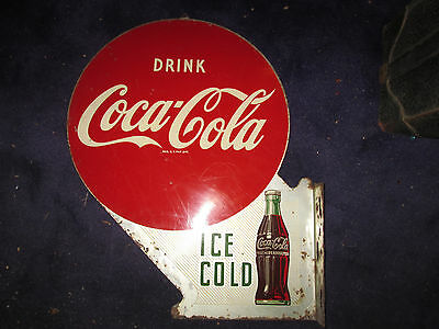 Vintage Coca Cola Advertising Sign Double Sided Enameled Porcelain Marquee Sign