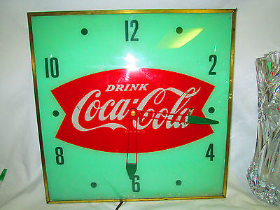 """Vintage 1950's Coca Cola Fishtail Clock Nice Working Condition 15"""" Square Green"""