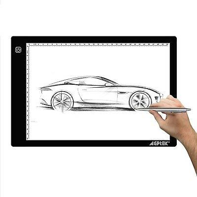 AGPtEK LED Tracing Light Box 14.7 Inch X 9.45 Inch Drawing Tablet Pad Adjusta...