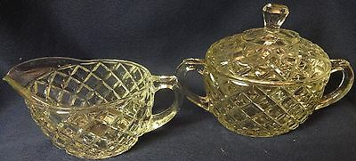 Waterford Crystal Creamer Sugar and Lid Hocking Glass Company