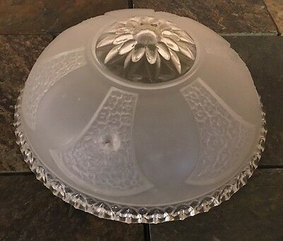 Antique Art Deco Clear Frosted Ceiling Lamp Cover Shade Flowers Glass Globe