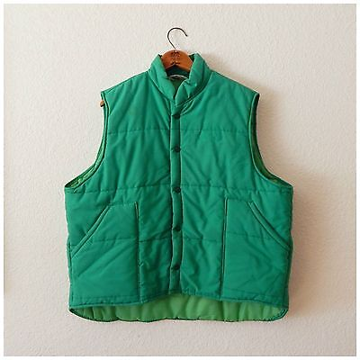 Mens 70s Vintage Green Snap Up Quilted Collared Carpenter Trucker Vest XXLarge