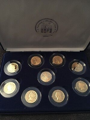 National Collectors Mint 9pc Half Eagle Tribute Proof Collection Gold Plated