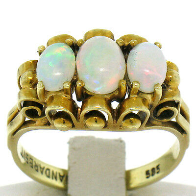 Unique Hand Made German Vintage 14k Yellow Gold 1.03ct 3 Stone Oval Opal Ring