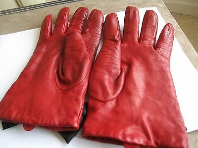 Dents red leather gloves with black lacing size 7.5