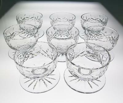 Set of 8 Waterford Lismore Shrimp or Dessert Bowls w/Attached Underplate Crystal