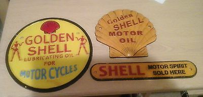 ~~X3 Vintage Golden Shell Motor Oil Signs Cast Iron~~