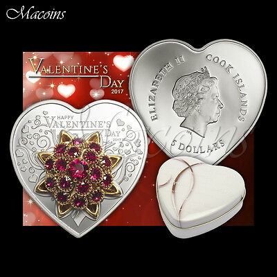 Valentine's Day 2017 Cook Islands 999 Silver Coin With Swarovski® Elements Rose