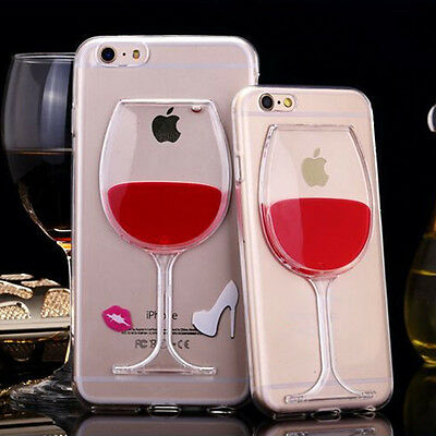 3D Red Liquid Wine Glass Bottle Phone Case Cover For Apple iPhone 5 5s 6 7