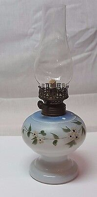 Vintage Hand Painted Miniature Milk Glass Oil Lamp Blue Colors With Floral