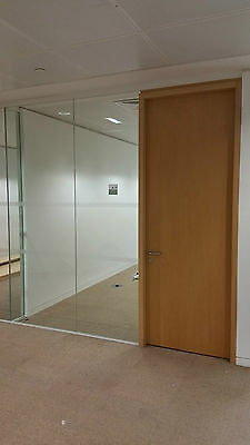 3.04 Metre Wide Glass Office Partition System With 3 Panels, Door & Frames £299