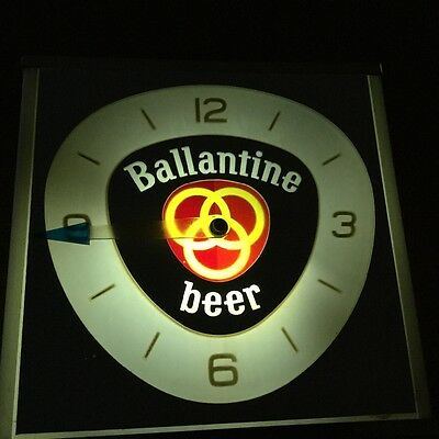 Vibtage Ballantine beer sign lighted bar wall clock / counter display light