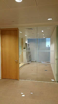 3.17 Metre Wide Glass Office Partition System With 3 Panels, Door & Frames £315