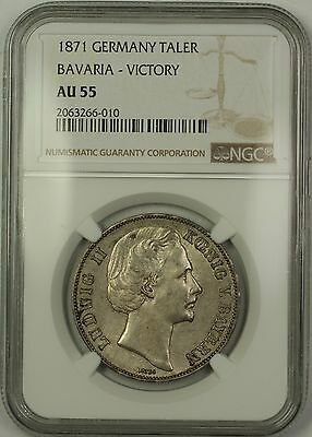 1871 Germany Bavaria Victory Silver Taler Coin NGC AU-55