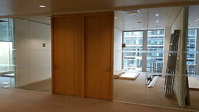 6.29 Metre Wide Glass Double Office Partition Systems With 2 Doors For £620 Each