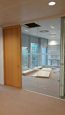 2.89 Metre Wide Glass Office Partition System With 3 Panels, Door & Frames £299