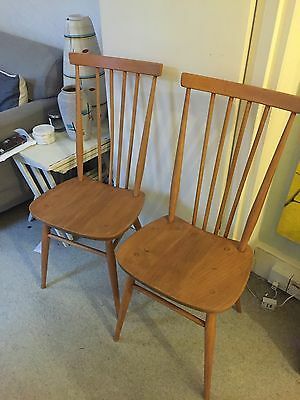 Stunning High Four Rod Back Blonde Ercol VIntage 1960's Chairs