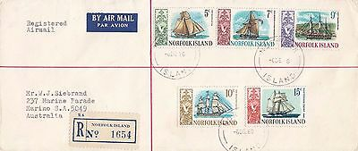 J 614 Norfolk Island air registered 1968 cover to Australia; ship stamps