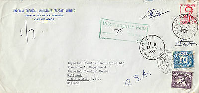 L 1294 Maroc underpaid 1966 cover to UK; tax marks; UK postage due stamps on