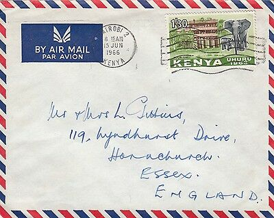 L 1533 Kenya 1966 elephant stamp solo usage airmail cover to UK