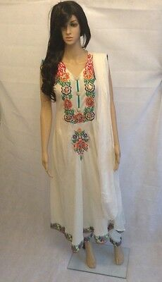 Ready made 3 Piece chiffon frock - Cream and multi colour  - Large