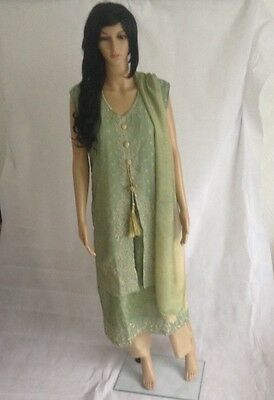 Front open double shirt style shalwar kameez  - Green - Small - AF34