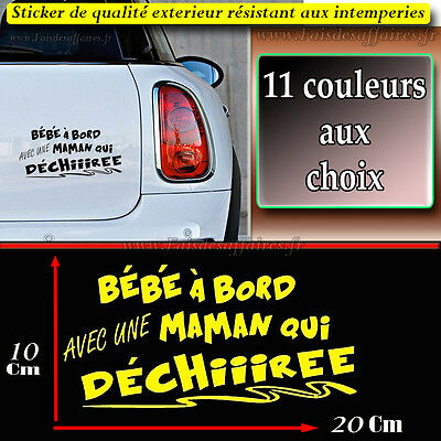 sticker autocollant b b bord avec maman qui d chire deco voiture humour ipad eur 3 00. Black Bedroom Furniture Sets. Home Design Ideas
