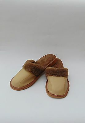 Ladies leather slippers warmed * GENUINE EU HAND MADE PRODUCT* size 6