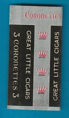 Old EMPTY sample complimentary cigar packet  size 3.   Coronets #288