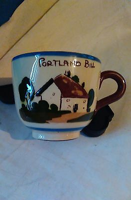 """Motto Ware Torquay/Devon Pottery cup  """"Portland Bill"""" The cup that cheers 6.5cm"""