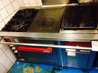Charvet Commercial Stove Oven Gas Griddle Grill Solid Top & 2 Burners.