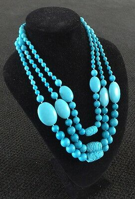 Chinese Carved Turquoise 3 Strand Beads Necklace Sterling 925 MLD TH 196.7 Grams