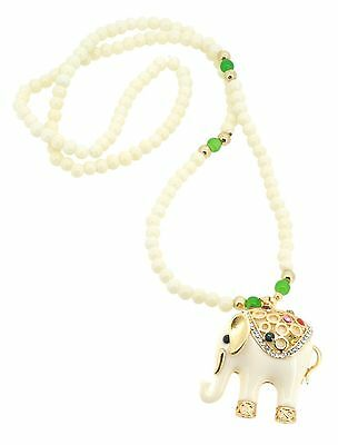 Bejeweled White and Gold-colored Elephant Necklace, White Elephant Necklace