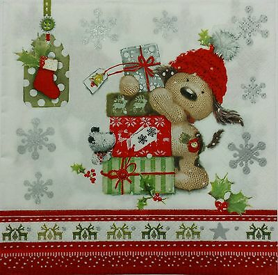 CHRISTMAS DOG 2 single LUNCH SIZE paper napkins for decoupage 3-ply
