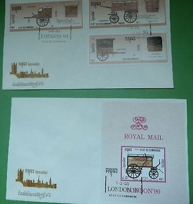 Cambodia  2 x Commemorative covers London 1990 Stampex Carriages/mail