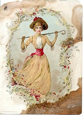 1894 Victorian Woman Advertising Trade Picture CardLion Coffee Woolson Spice Co
